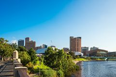 Adelaide city skyline with Torrens river Stock Photos