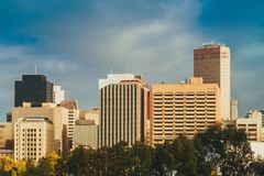 Adelaide city skyline view on a day. Adelaide city skyline view across Elder Park on a day stock photography