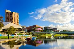 Adelaide city skyline viewed across Torrens river. Adelaide,  Australia - August 27, 2017: Adelaide city skyline viewed across Torrens river in Elder Park on a Royalty Free Stock Photography
