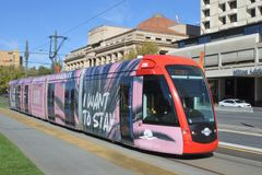 Adelaide city tram in Adelaide South Australia. Adelaide city tram. Adelaide Metro provides a free tram service in Adelaide the capital city of South Australia royalty free stock image