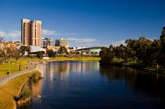 Adelaide Cityscape. The beautiful City of Adelaide as seen from the King William Street bridge royalty free stock photo