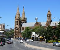 ADELAIDE. DECEMBER 5: Traffic and Cathedral in centre of city. December 5, 2007 in , Australia royalty free stock photo