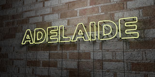 ADELAIDE - Glowing Neon Sign on stonework wall - 3D rendered royalty free stock illustration Royalty Free Stock Photos