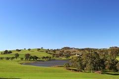 Adelaide-Hügel mit Weinorchad und -see Stockbild