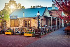 Adelaide Hills wine centre in Hahndorf. Hahndorf, South Australia - April 19, 2018: Adelaide Hills wine centre side view in Hahndorf German Village during autumn royalty free stock photography