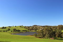 Adelaide hills with wine orchad and lake Stock Image