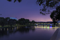 Adelaide landscape. With Oval stadium, bridge and Torrens river Stock Image