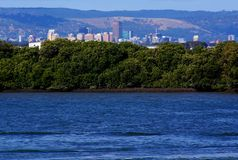 Adelaide, Mangroves & Hills. Unique View of Adelaide and the Adelaide Hills, with the wetland mangroves of Garden Island in the foreground (Australia stock photos