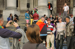 Adelaide Marriage Equality. Adelaide, AU - May 12, 2012: Supporters and opponents of Marriage Equality gather before the South Australian Parliament House for an Royalty Free Stock Photography
