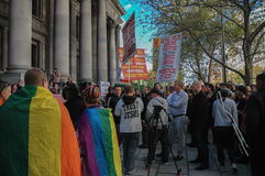 Adelaide Marriage Equality. Adelaide, AU - May 12, 2012: Supporters and opponents of Marriage Equality gather before the South Australian Parliament House for an Stock Photo