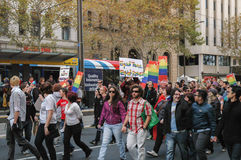 Adelaide Marriage Equality. Adelaide, AU - May 12, 2012: Supporters and opponents of Marriage Equality march to the centre of Rundle Mall`s shopping precinct for Royalty Free Stock Image