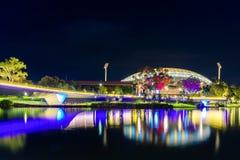 Adelaide-Oval belichtet nachts Lizenzfreies Stockfoto