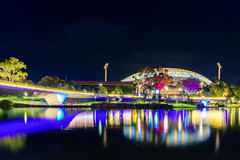 Adelaide oval illuminated at night Royalty Free Stock Photo