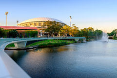 Adelaide Oval and River Torrens Foot Bridge. Adelaide, South Australia - January 18, 2015: View of Adelaide Oval and River Torrens Foot Bridge which are very Stock Image