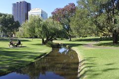 Adelaide Park Lands in Adelaide  City South Australia. Urban city park landscape.In the 2010s, about 25% of the Park Lands are the location of government, public royalty free stock images