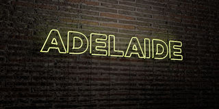 ADELAIDE -Realistic Neon Sign on Brick Wall background - 3D rendered royalty free stock image Royalty Free Stock Images