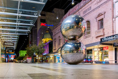 Adelaide Rundle Mall balls at night. Adelaide, Australia - April 16, 2017: Iconic Rundle Mall Balls in Adelaide CBD from  ground point of view at night Stock Photo