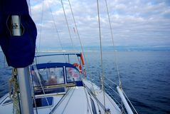 Adelaide Sailing. Sailing, taken from the bow of a yacht doing 4 knots across the Gulf St Vincent, looking back towards Adelaide stock photos