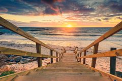 Adelaide shores at sunset. Dramatic sunset at Adelaide shores, South Australia royalty free stock photography