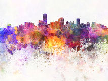 Adelaide skyline in watercolor background Royalty Free Stock Photography