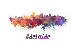 Adelaide skyline in watercolor Stock Image