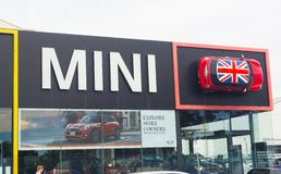 The facade building of Mini Cooper car showroom, is a small economy car produced by the English-based British Motor Corporation. royalty free stock photos