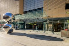 Adelaide, South Australia - 27 January 2015: Rundle Mall's Balls and pedestrians. Royalty Free Stock Image