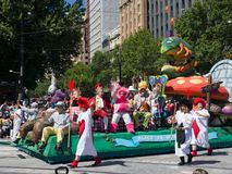 Fairy tale and Fantasy floats ` Alice in Wonderland ` perform in the 2018 Credit Union Christmas Pageant parade. ADELAIDE, SOUTH AUSTRALIA. - On November 10 stock image