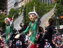Fairy tale and fantasy floats ` Green angel with wings ` perform in the 2018 Credit Union Christmas Pageant parade. ADELAIDE, SOUTH AUSTRALIA. - On November 10 stock photography