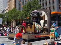 Fairy tale and fantasy floats ` little red riding hood ` perform in the 2018 Credit Union Christmas Pageant parade. royalty free stock photos