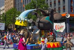 Fantasy floats ` Circus ` perform in the 2018 Credit Union Christmas Pageant parade. ADELAIDE, SOUTH AUSTRALIA. - On November 10, 2018. – Fantasy floats royalty free stock images