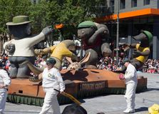 Fantasy floats ` Country Cricket ` perform in the 2018 Credit Union Christmas Pageant parade. ADELAIDE, SOUTH AUSTRALIA. - On November 10, 2018. – stock images