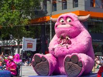 Fantasy floats ` Cute pink monster ` perform in the 2018 Credit Union Christmas Pageant parade. ADELAIDE, SOUTH AUSTRALIA. - On November 10, 2018. – stock image