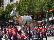Fantasy floats ` Kangaroo ` perform in the 2018 Credit Union Christmas Pageant parade. royalty free stock photo