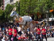 Fantasy floats ` Kangaroo ` perform in the 2018 Credit Union Christmas Pageant parade. ADELAIDE, SOUTH AUSTRALIA. - On November 10, 2018. – Fantasy royalty free stock photo