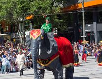 Fantasy floats ` Nellie the Elephant ` perform in the 2018 Credit Union Christmas Pageant parade. ADELAIDE, SOUTH AUSTRALIA. - On November 10, 2018. – royalty free stock images