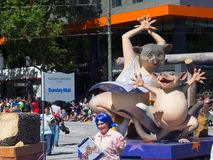 Fantasy floats ` Possum Magic ` perform in the 2018 Credit Union Christmas Pageant parade. ADELAIDE, SOUTH AUSTRALIA. - On November 10, 2018. – Fantasy royalty free stock image