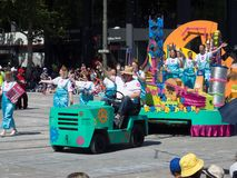Fantasy floats ` Professor Fizz and her Kaotic Kontraptions ` perform in the 2018 Credit Union Christmas Pageant parade. ADELAIDE, SOUTH AUSTRALIA. - On royalty free stock photography