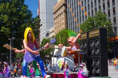 Fantasy floats ` The soft toy colorful rock band ` perform in the 2018 Credit Union Christmas Pageant parade. ADELAIDE, SOUTH AUSTRALIA. - On November 10, 2018 royalty free stock photos
