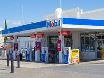 Mobil service station at the front. stock photo