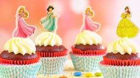 Children`s birthday party princess themed cupcakes. Adelaide, South Adelaide - June 15, 2018: Children`s birthday party princess themed cupcakes, close up royalty free stock photography