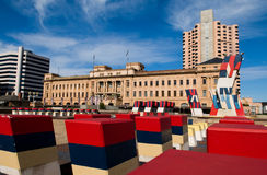 Adelaide Southern Plaza. Southern Plaza in Adelaide, sculptures with state colours and part of adelaide skyline in the background including the railway station stock photos
