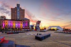 Adelaide-Stadtansicht bei Sonnenuntergang Stockbild