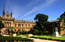 Adelaide - University of Adelaide. The Old Classics Wing (Mitchell Building on North Terrace) of the University of Adelaide and the Goodman crescent Royalty Free Stock Photo