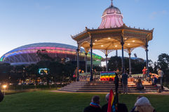 Adelaide Vigil. ADELAIDE, AU - JUN 18, 2016: Hundreds of South Australians gather at Elder Park to remember the victims and demonstrate their support for the Stock Images