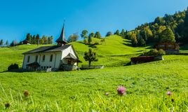 Adelboden Church. The photograph was taken on my way to hike in the mountains near the town of Adelboden, Switzerland. When I looked out of the car window and royalty free stock photo