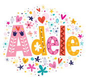 Adele female name decorative lettering type design Stock Photography
