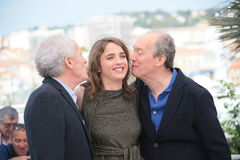 Adele Haenel, Jean-Pierre Dardenne et Luc Dardenne Photographie stock libre de droits