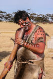 ADELEIDE, AUSTRALIEN - 18. APRIL, 08: nicht identifizierter Ureinwohnerschauspieler an einer Leistung für besondere Anlässe am 18 Lizenzfreie Stockfotos