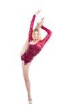 Adelgace al bailarín flexible del arte de la gimnasia rítmica de la mujer Fotografía de archivo